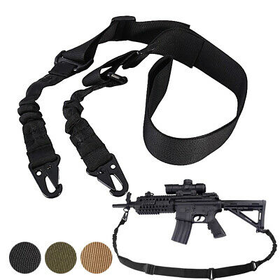 Tactical 1or 2 Point Rifle Sling Strap Adjustable Bungee Gun Sling Quick Release