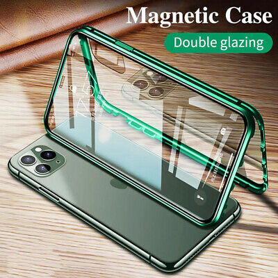 For iPhone 11 Pro XS Max XR 8 7 6S + 360° Magnetic Adsorption Double Glass Case