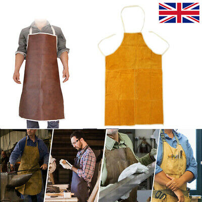 Welder Blacksmith Welding Apron Leather Protection Clothes Workwear Long Bibs UK