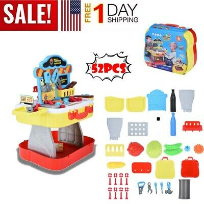 Toddler Girl Toy Tool Set Box Workbench Pretend Play Boy Kid Drill Learning Game