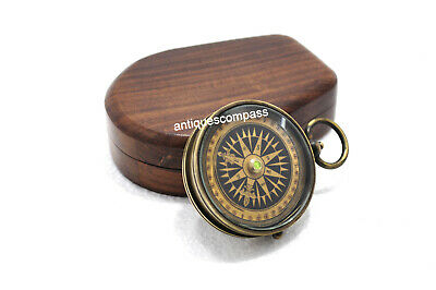 Compass Collectible Antique Finish Nautical Marine Vintage With Wooden Box
