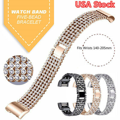For Fitbit Charge 2 Watch Stainless Steel Crystal Diamond Strap Metal Band USA