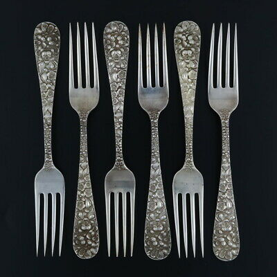 """Stieff Rose Fork - Sterling Silver 6 7/8"""" Floral Repousse 1892 Set of 6"""