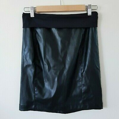 Pea in a Pod Black Maternity Skirt Leather Look - Made in Aus - Size 8