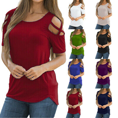 Fashion Sexy Summer Women Strappy Cold Shoulder Tops Blouse Short Sleeve T-Shirt