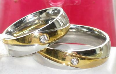 str6 3 MENS  WOMENS  2TONE SIMULATED DIAMOND wedding ring BAND STAINLESS STEEL