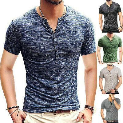 Men's Slim Fit V-Neck Short Sleeve Muscle Tee T-shirt Casual Tops Henley Shirts