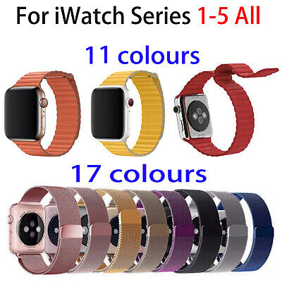 Magnetic Loop Milanese / Leather Wrist Band Strap For Apple Watch 38 42 40 44mm