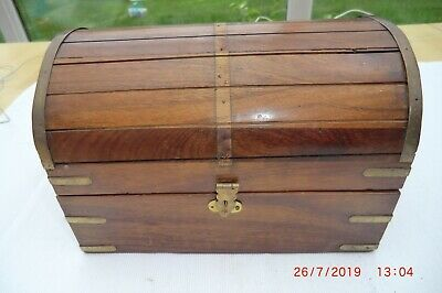 Small Solid Wooden Chest with Brass Banding