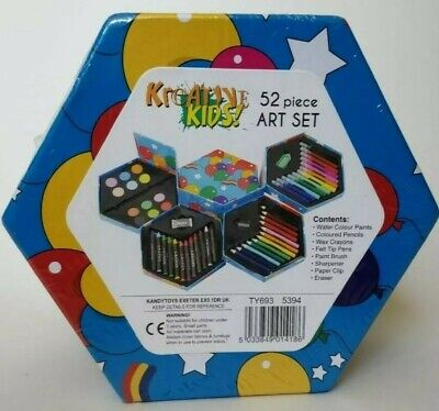 Kids Drawing Set Childrens 52 Piece Colouring Art Kit Pencils Crayons Eraser.