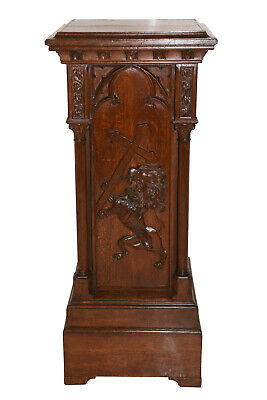 Unique French Gothic Wooden Pedestal, 1900's, Carved Lion with Crucifix