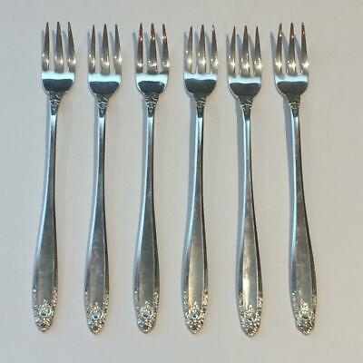 Set Of 6 International Prelude Sterling Silver Seafood Cocktail Forks 98Grams S2