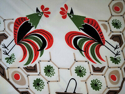 Rooster Eggs Chickens Vintage Printed Tablecloth Mid Century Modern MCM Decor