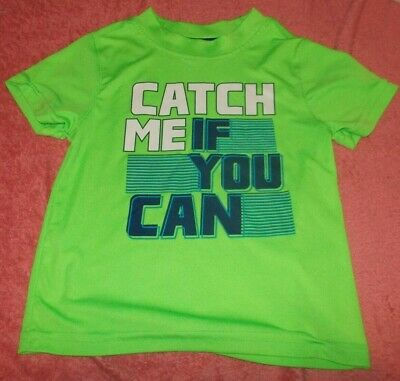 """Healthtex Shirt, """"Catch me if you can"""", Short Sleeves, Green,   3T"""