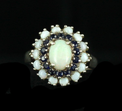 Vintage Mid Century Sterling Silver White Opal Blue Sapphire Fessenden&Co Ring 7