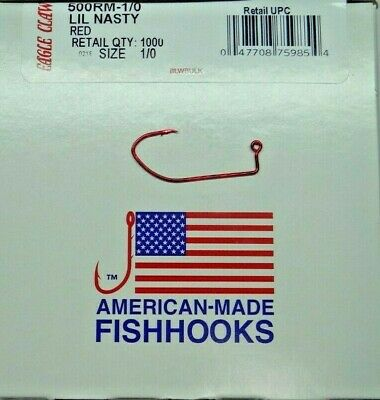 EAGLE CLAW # 500 LIL NASTY SICKLE JIG HOOKS 100 CT I REFUND EXCESS SHIPPING!
