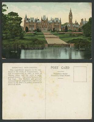 Eaton Hall nr Chester Lake River Garden Clock Tower Cheshire Old Colour Postcard