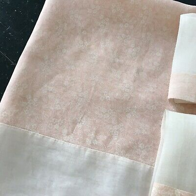 VINTAGE LINEN ORGANDY SQUARE TABLECLOTH & 6 NAPKINS in SHEER PINK FLORAL PRINT