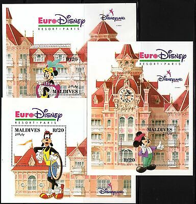 MALDIVES - 1992 Euro-Disney Resort, Mickey, Mini, Pluto - 3 x S/SHEETS - MNH