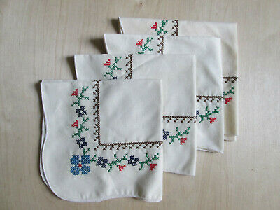 Vintage embroidered napkins set of 4 floral country chic cottage handkerchief