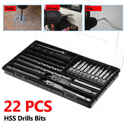 22Pcs HSS Twist Drill Bits Hex Shank Screwdriver Tool Set With Storage Box