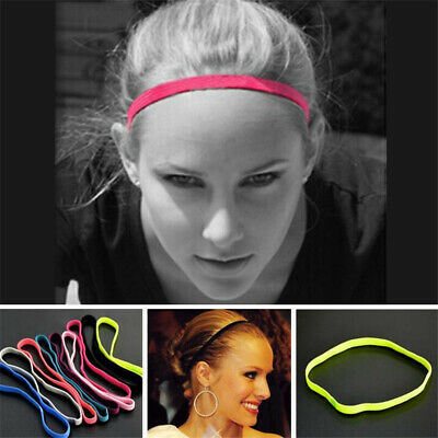Women Men Anti-slip Yoga Hair Band Sports Headband Elastic Silicone Sweatband