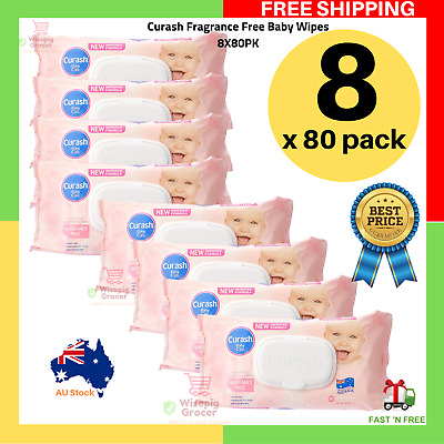 Curash Fragrance Free Baby Wipes 8 x 80 Pack 80pack 8x80pack 8x80pk | FREE SHIP