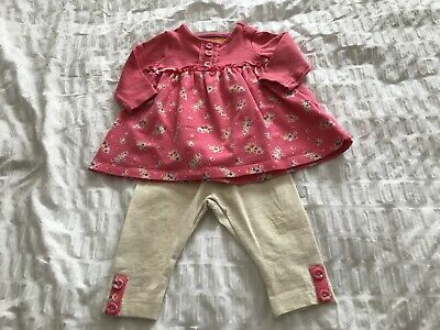 MOTHERCARE BABY TOP LEGGINGS  SET AGE 0-3months DEEP PINK CREAM