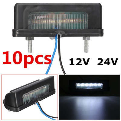 10pcs 12V/24V LED Number Licence Plate Rear Tail Light Lamp Truck Trailer Lorry
