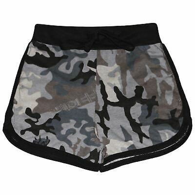 Kids Girls Shorts 100% Cotton Gym Sports Camouflage Charcoal Summer Hot Pants