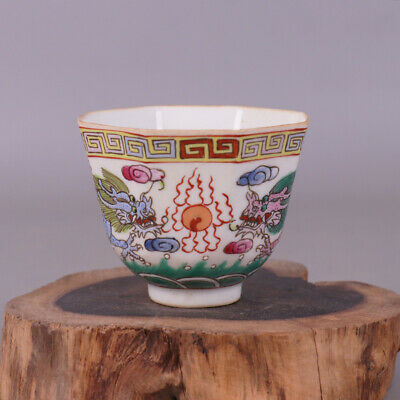 Chinese Qing Dynasty porcelain Hand painted Fives Dragon cup Home decoration 五龙杯