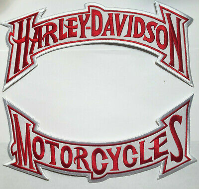 Harley Davidson Red on White Rocker Patch Set Large Biker Iron On Embroidered