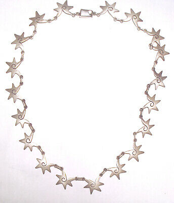 VINTAGE Beautiful ARTISAN Shell/Star STERLING SILVER 925 Modernist NECKLACE