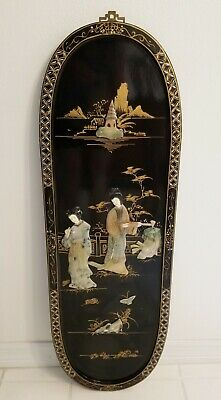 Vintage Black Lacquer Asian Oriental Wall Plaque Picture Mother of Pearl