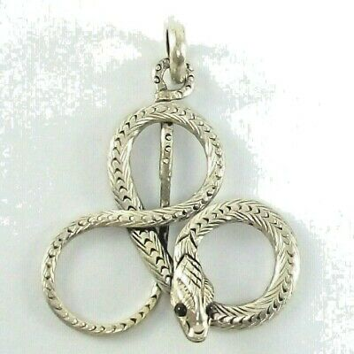 Vintage Pendant Snake zodiac Small Good Fortune Sterling silver metal Charm