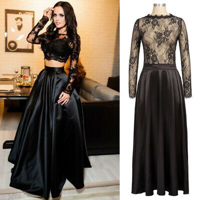 Women Ladies Evening Formal Party Bridesmaid Lace Maxi Dress Prom Long Gown SALE
