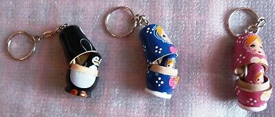 Brand New Wooden Keyring With Russian Doll - Great Gift