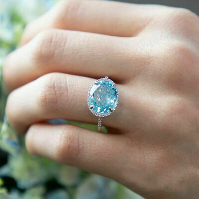 Exquisite Oval Cut Sapphire Wedding Ring 925 Silver Women Wedding Jewelry Gifts