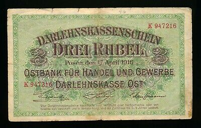 1916 Germany WWI Occupation of Lithuania 3 Rubel Note RARE
