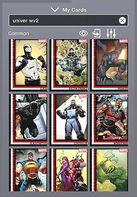 Marvel Topps Collect Universe Complete Wave 2 + Award 11 Cards