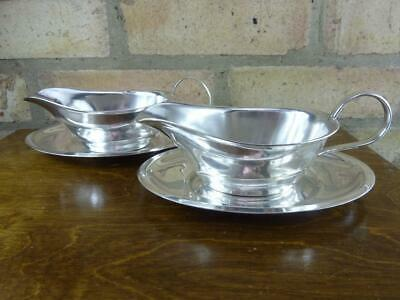2 nice vintage Lockhart EPNS silver plated Sauce boat jugs with stands