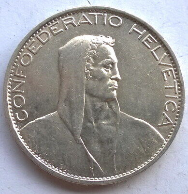 Switzerland 1925 William Tell 5 Francs Silver Coin