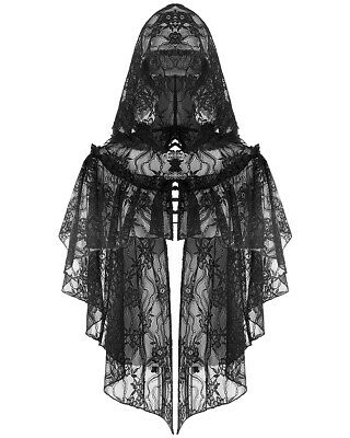 Dark In Love Gothic Hooded Shrug Cape Top Black Lace Steampunk Victorian Witch