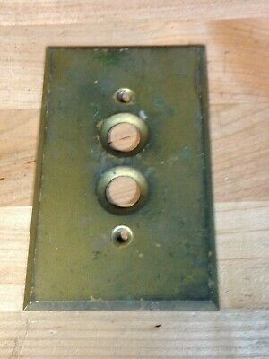 Antique Vintage Brass Harvey Hubbell Push Button Light Switch Plate Part