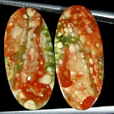 15.00Cts Natural American Picture Jasper Oval Pair Cabochon Loose Gemstone