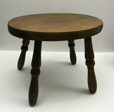 Vintage Farmhouse Accent Stepping Stool Footstool Solid Wood Plant Stand Oval