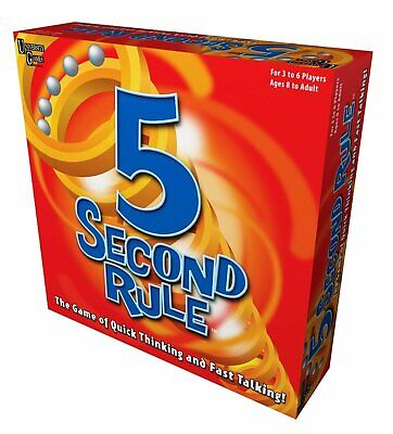 Hasbro 5 Second Rule Board Game University Simple Rules 3 to 6 Players Ages 8 Up