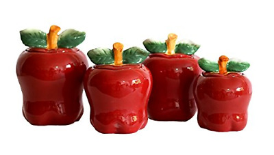 SET OF 4 Apple shaped red ceramic CANISTERS country kitchen ...