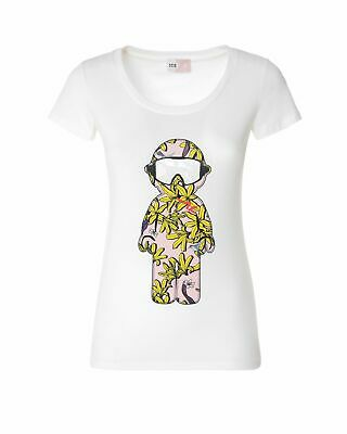 T-shirt con stampa snowboarder floreale Ice Play Bianco I 92%COTONE 8%ELASTAN