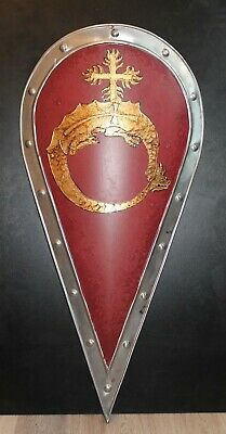 Large Medieval Order of the Dragon Shield handcrafted handpainted steel Vlad